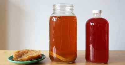 Homemade kombucha: fermented tea brewing, mother, bottled with raspberry