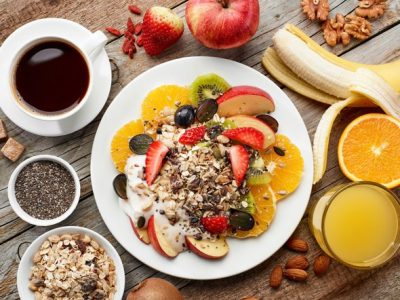 fruit-muesli-nuts-seeds-coffee-and-juice