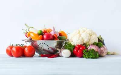 cauliflower-tomatoes-and-other-vegetables-on-table