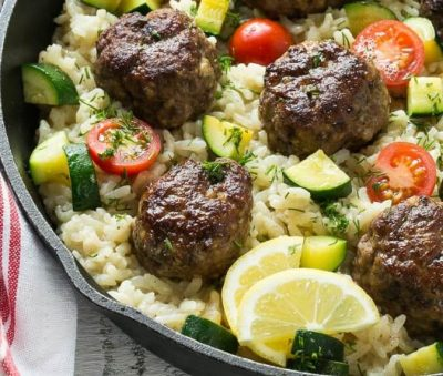 One-Pot-Greek-Meatballs-with-Lemon-Dill-Rice-e1484732154700