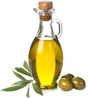 olive-oil-in-glass-bottle-and-three-green-olives-and-leaves