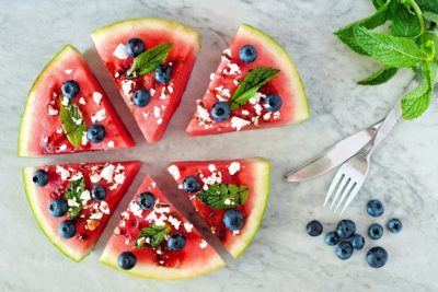 watermelon-slices-blueberries-feta-cheese-and-mint-leaves